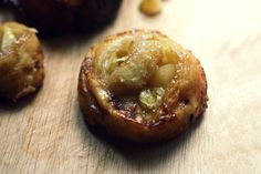 salted caramel sticky buns with pear and crème fraîche