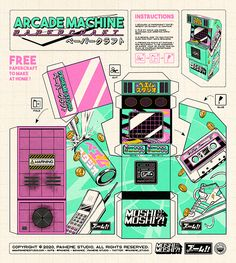 Free arcade machine papercraft to make at home ! Anime Crafts, Paper Crafts Origami, Beste Iphone Wallpaper, Paper Doll Template, Instruções Origami, Arcade Machine, Paper Toys, Paper Art, Diy And Crafts