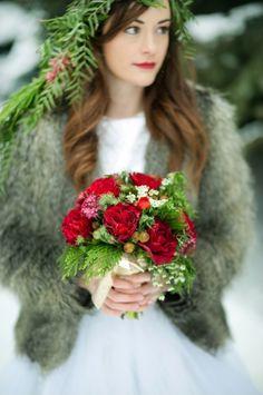 red winter bouquet