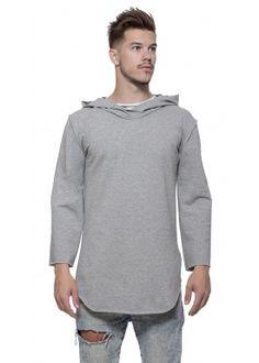 3/4 Long hoody gray