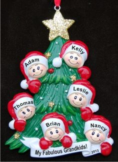 My Six Grandkids Looking Out for Santa Christmas Ornament Personalized