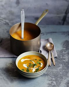 A healthy sweet potato soup recipe made with warming spices and a ginger kick.
