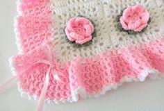 🌸 🌸 Crochê Cobertor do Bebê da Flor de Rosa Afegãs itens decorativos Criações -  /  🌸 🌸 Crochet Baby Blanket Rose Flower Afghan Knacks Creations -