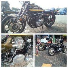九州自動車道  広川サービスエリア で休憩中のカスタムバイクの写真を 撮らせて貰いました 旧車のカスタムバイクはいい 自分のバイクももう少し大事にしなくては いけなえですね     #宮崎県 #高千穂町 #バイク tags[福岡県]