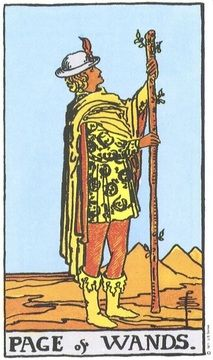 Tarot Card by Card: Page of Wands. The Page of Wands can represent a bright young person, good news, or a job opportunity. Page Of Wands, Tarot Significado, Owl Wings, Tarot Gratis, Online Tarot, Rider Waite Tarot, Free Tarot, Tarot Decks, Recipes