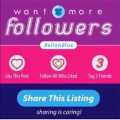 PART 12 -LET'S GROW 2GETHER Hello fellow PFFs! Let's help each other grow our followers!   Just a few quick steps to get the ball rolling.   FOLLOW ME  LIKE this post  ❤️FOLLOW all who also liked ‼️INCLUDING ME‼️  TAG 3 friends  SHARE! SHARE! & SHARE!  COME BACK to check for new followers   THE MORE YOU SHARE, THE MORE FOLLOWERS YOU GAIN!   Sharing is caring!   Happy Poshing! Bellanblue Bags