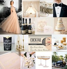 Colour palette: Blush, cream, black and champagne gold (I would swap black for navy)