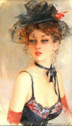 Cuadro oleo, bella mujer joven de época