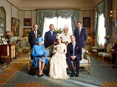 The Duke and Duchess of Cambridge pose with members of the royal family after Prince George's Oct. 23 christening