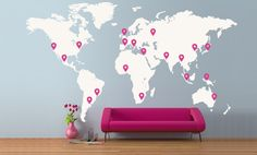 Extra Large World Map 4.2 x 2.4M/ 14 x 8ft Vinyl Wall Sticker Decal. £159.99, via Etsy.