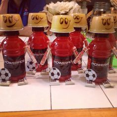 Soccer snacks for Aidens team!! So easy, cute and a great way to get your little one involved! (He loved putting the soccer balls on.)