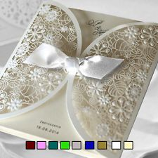 White Personalised Wedding Invitations Laces Laser Cut  Free P*P FREE ENVELOPES