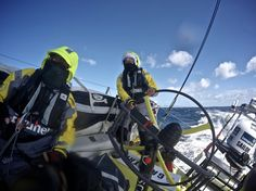 March 21, 2015. Leg 5 to Itajai onboard Team Brunel. Day 03. Skipper Bouwe Bekking sailing safe as Team Brunel leads the fleet entering the rough Southern Ocean. One of the sailors having a hard time at the back of the boat Stefan Coppers / Team Brunel / Volvo Ocean Race