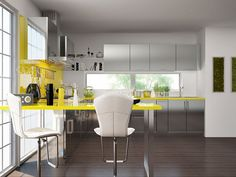Hyacinth L-shaped Modular Kitchen Stainless Steel L Shaped Modular Kitchen, L Shaped Kitchen, Footprint Crafts, Kitchen Design, Table, Kitchens, Stainless Steel, Furniture, Home Decor