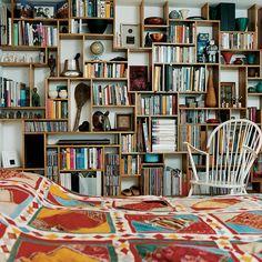 Handmade bookshelf made from oak planks.
