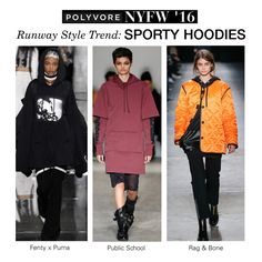 """""""NYFW Runway Trend: Sporty Hoodies"""" by polyvore-editorial ❤ liked on Polyvore featuring rag & bone, women's clothing, women, female, woman, misses, juniors, NYFW, Hoodies and pvnyfw"""