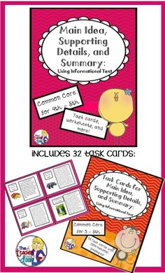 43 page set full of worksheets, games, task cards and graphic organizers to help your 4th/5th graders master the concept of finding the main idea, using informational text. (TpT Resource)