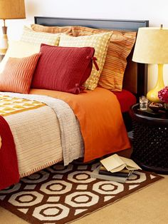 When picking a color scheme, choose three coordinating colors. Some popular combos: red, yellow and orange; chocolate brown, blue and white; honey yellow, dark woods and white  Read more: Bedroom Decorating Ideas - How to Decorate a Master Bedroom - Good Housekeeping  Follow us: @Good Housekeeping Magazine on Twitter | GOODHOUSEKEEPING on Facebook  Visit us at GoodHouseKeeping.com
