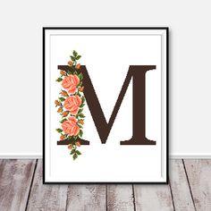 Monogram M cross stitch pattern Letter M cross stitch Flower embroidery Monogram cross stitch Modern cross stitch Counted cross stitch chart