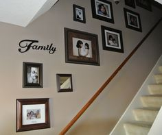 Stairway Wall Decorating Ideas my staircase wall decor!! i just love the cluster look!! just need
