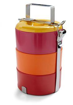 A bold-colored tiffin box, I love mine.