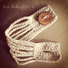 This cuff bracelet is knit, but could easily be converted to crochet...