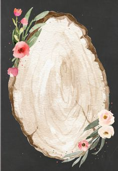 """Floral wood slice - Added """"Table"""" and the # to this one as well. Framed Wallpaper, Flower Background Wallpaper, Cute Wallpaper Backgrounds, Flower Backgrounds, Photo Templates Free, Photo Collage Template, Wedding Invitation Templates, Wedding Invitations, Floral Invitation"""