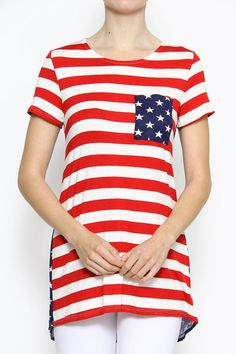 Darling American flag tunic with statement pocket. Perfect for the 4th of July   Made in the U.S.