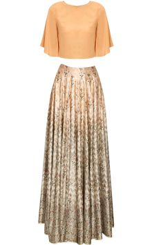 Peach bell sleeves crop top and shades of apricot hand woven skirt at Pernia's Pop Up Shop.