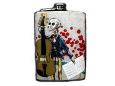 Day of the Dead Decorated Stainless Steel Flask 8oz. - FD191 . $18.00. This very unique flask is decorated with a durable image on the front only. The flask holds 8oz of your favorite liquor.