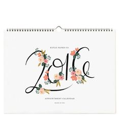 Stay on top of things in 2016 with Rifle Paper Co.'s appointment calendar. Includes monthly views with sweet illustrations. Measures: 12 x 16 inches.