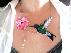 Floral Jewelry Hummingbird Bird and Pink Flower Statement Necklace Animal Trend Gift for Her Woodland on Etsy, $42.00