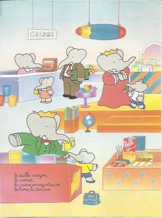 Babar The Elephant Bookshop Book Stationery Shop School Baby Kids Childrens Art Colour Print 1991