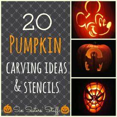 20 great pumpkin carving ideas - I love that mickey head!