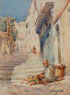 Algérie - Peintre Français,  Gilbert GALLAND (1870-1956), Aquarelle et fusain , Titre : Vendeur de grenades dans les rues d'Alger .