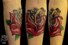 #bear#rose#oldschool#my arm#tattoo#hami#tattoo face