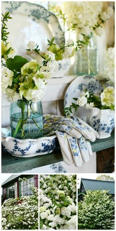 White Spring Blooms and Ball Jar Bouquets in the Potting Shed | ©homeiswheretheboatis.net #flowers #masonjars #spring