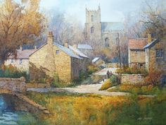 Downham, Lancastershire, England Ian Ramsay was born in Farnborough, Kent, England in Japan Watercolor, Watercolor Artists, Watercolour Paintings, Watercolor Ideas, Oil Paintings, Sitka Alaska, English Country Cottages, Barn Art, Red Barns
