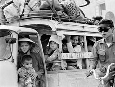 Nha Trang -- March 29: Frightened civilians flee the advancing Communist forces, Nha Trang, South Vietnam, March 29, 1975. (Photo by David Hume Kennerly/GettyImages)