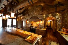 Beautiful Log Home Kitchens Beautiful Kitchens, Beautiful Homes, Mountain Home Interiors, Log Home Living, Living Area, Living Room, Stone Kitchen, Rustic Kitchen, Nice Kitchen