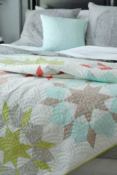 "Gorgeous colors in thie ""Swoon"" quilt. Love the muted colors with the subtle greys."