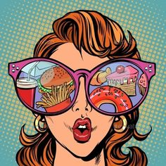 Woman with sunglasses. Fast food and sweets in the reflection. Comic cartoon pop art retro illustration vector kitsch drawing Woman with sunglasses. Fast food and sweets in the reflection. Art And Illustration, Food Illustrations, Bd Pop Art, Pop Art Girl, Pop Art Design, Game Design, Retro Kunst, Retro Art, Comic Kunst