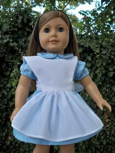 Original Alice in Wonderland Blue Cotton Doll Outfit for American Girl or 18 Inch doll.