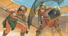 Gladiateurs. Illustration : Angus Mc Bride.