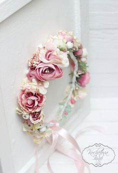 Bridal floral crown Flower headband Bridal by ByKochetova on Etsy - Wedding Crown Pink Floral Crowns, Floral Crown Wedding, Floral Headbands, Floral Hair, Rose Wedding, Wedding Girl, Flower Headband Wedding, Wedding Crowns, Crown Headband