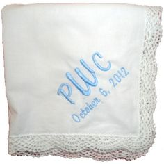 Custom embroidered scalloped edge hankie