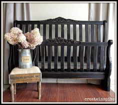 """I came across this headboard and footboard by accident. Hubby was considering throwing it out. I said, """"Um, no."""" Lol It is solid oak a. Redo Furniture, Painted Headboard, Oak Headboard, Refurbished Furniture, Hand Painted Furniture, Black Painted Furniture, Furniture, Black Headboard, Home Decor"""
