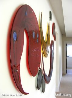 Glass art wall sculpture  'Poppy' fused glass wall sculpture