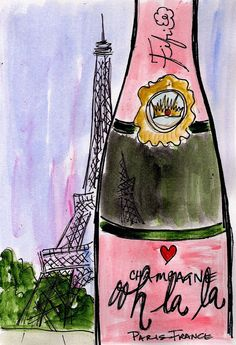 Ooh la la Eiffel Champagne by Fifi Flowers. love her work. Illustration Parisienne, Illustration Art, Little Paris, I Love Paris, Pink Paris, Oui Oui, 3d Character, Paris Travel, Travel Journals