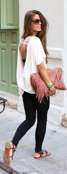 street style casual open back blouse & fringe clutch